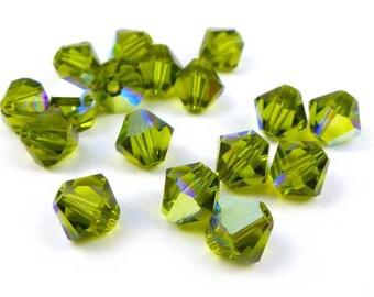 20 x Swarovski® 6 mm OLIVINE AB Crystal bicones