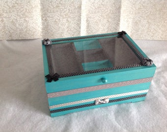 OWL... Box jewelry box, jewelry, turquoise and gray