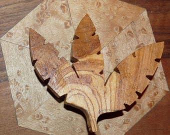 Wooden brooch: autumn leaf