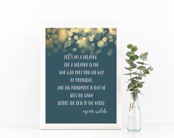 Oscar Wilde Teal and Gold Digital Print - 8 x 10