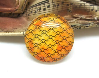 2 cabochons 14 mm glass gold decorated - 14 mm