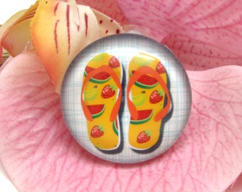 2 cabochons 10 mm glass flip flops Beach 1-10 mm