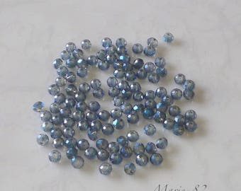 Faceted glass beads 90 - Iris Medium 3 X 2 mm