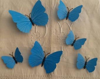 Flight of butterflies 3D / blue / decals