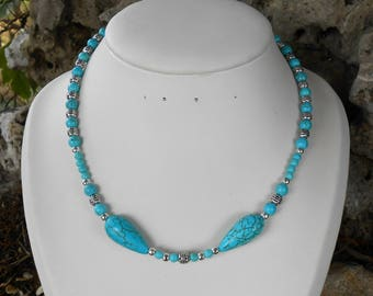 Necklace, handmade, turquoise howlite beads