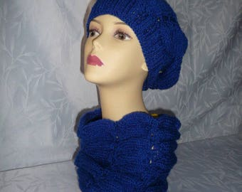 Hat and snood handmade knit blue royal