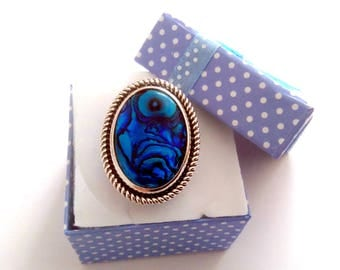Blue abalone Adjustable ring