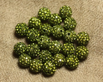 10pc - Pearl rhinestone 10mm 4558550022936 Olive green glass and polymer