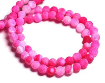 20pc - stone beads - Agate pink matte balls 6 mm dyed imperfection - 8741140000537