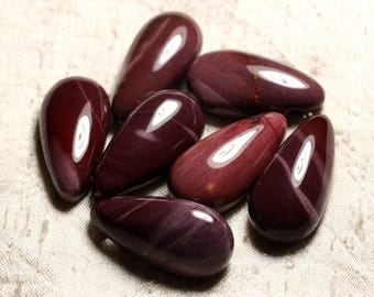 1pc - semi precious stone pendant - Jasper Mokaïte drop 40mm 4558550013248