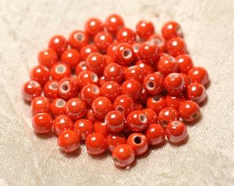 20pc - beads ceramic porcelain balls 6 mm Orange iridescent - 8741140010680