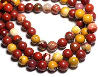 5pc - stone beads - Moukaite Jasper balls 10mm - 4558550037442