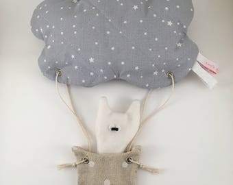 Mobile decor cloud print stars with removable traveler cat finger PUPPET cat fleece cord cotton and linen