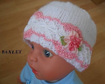 White lace baby 0-1 month baby hat, beanie.. .in the hook. .
