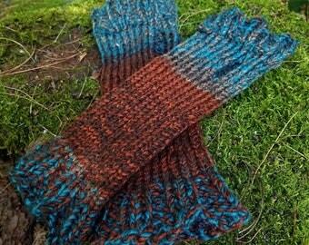 Earthy Knit Arm Warmer Fingerless Gloves