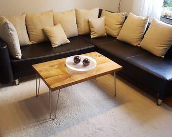 Oak Bar coffee table side table hand made oak modern rustic design hair needle legs