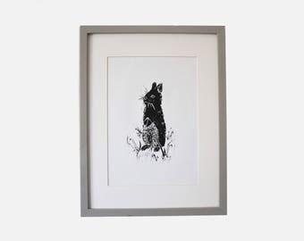 WOODLAND RABBIT-  A4 Lino print by James Dixon