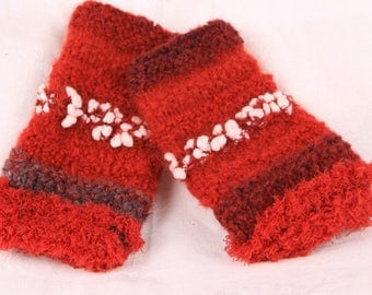 fingerless gloves, arm warmers, red and Burgundy