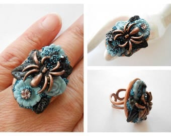 Ring copper spider collection future flower.