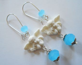 Earrings silver white Angel and Blue Crystal beads.