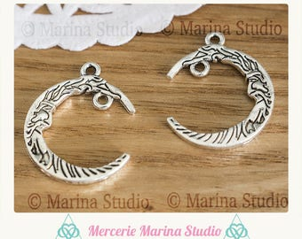 2 charms moon with 2 holes for mystical creation and celestiale 21mm