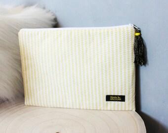 Sunshine yellow Pompom jewel pouch