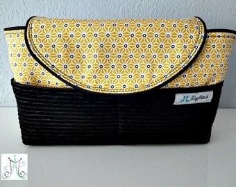 Flap - Asanoha fabric yellow and chic black velvet purse Organizer