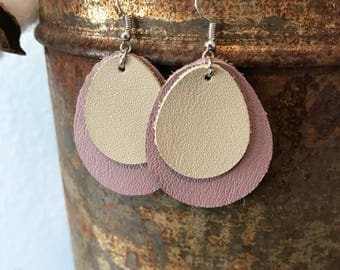 Leather earrings-Lavender and Gray
