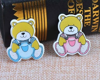 """Set of 30 wooden baby """"Bear"""" pink and blue appliques"""