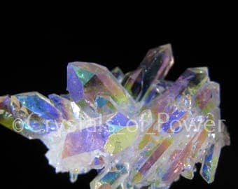 One Angel Aura Lemurian Seed Quartz Crystal Point Cluster! aka Rainbow / Opal Aura! All Are Starbraries w/other Metaphysical Configurations!