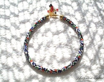 Multicolor crocheted beaded necklace