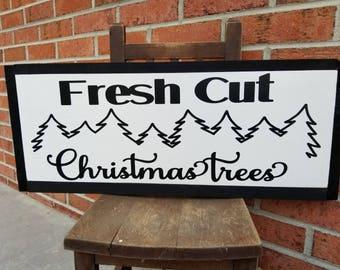 Fresh Cut Christmas Trees Hanging Sign