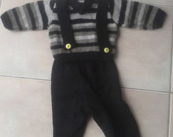 made baby sweater and d d set overalls