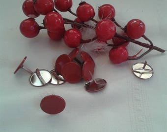 set of 20 Parisian ties red, Burgundy shape round, for scrapbooking, embellishments, cardmaking
