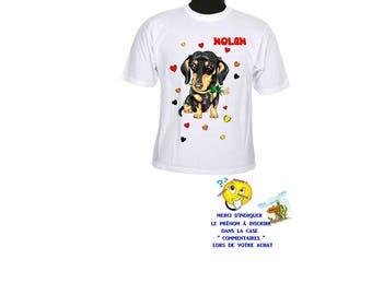 shirt pattern child dog basset customizable ref 148