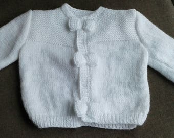 Hand knitted white Cardigan size 3 months