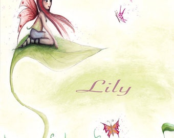 Original watercolor personalized child's room decor