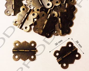 Set of 10 Bronze hinges for box jewelry box chest screw described 30 x 26 mm