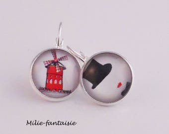 Lever back earrings silver red cabaret moulin glass cabochon