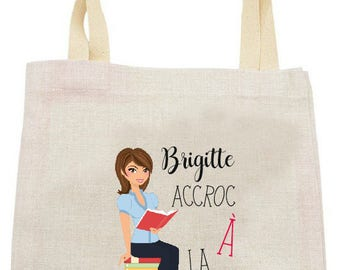 "LINEN TOTE BAG with ""addicted to reading"" personalized"