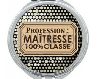 "Pocket mirror ""profession: teacher class 100%"""