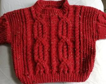 Pull irlandais 4 ans rouge tricoté main