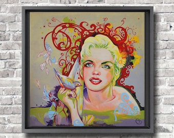 Colorful and modern painting Marylin Monroe Original acrylic painting Female portrait Wall decor Fine Art by Florence Bretécher