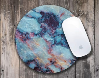 Marble Mousepad Round Marble Mouse Mat Office Mousepad Computer Mouse Mat Blue Marble Mouse Pad Gray Marble Mouse Mat Rectangular Mousepad
