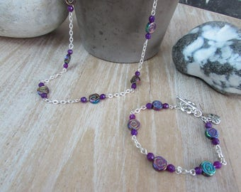 Set necklace and bracelet in titanium rainbow & chain silver plated
