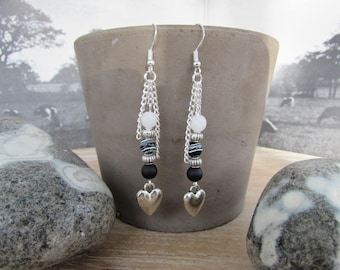 """Silver earrings, natural stones, black and white, silver heart """"Heart"""""""
