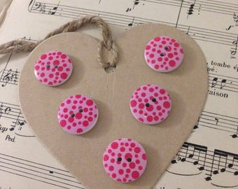 SET OF 5 BUTTONS WOOD PINK PEAS