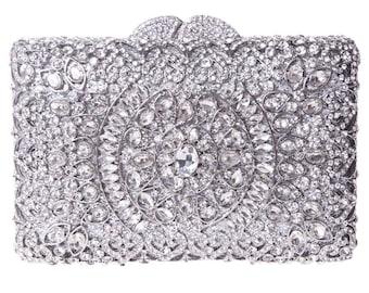 Silver Clutch, Crystal Clutch, Bridal Clutch, Wedding Clutch, Prom Clutch, Bridesmaid Clutch, Evening Clutch Bag,Gift for Her,Indian Clutch