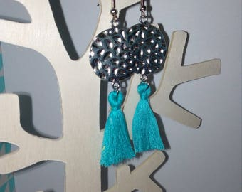 loop earrings hammered round connector and turquoise tassel