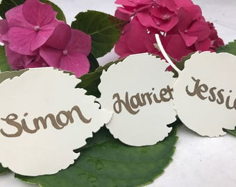 Unique Personalised Leaf Place Cards